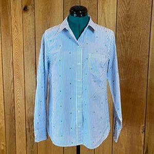 NWT GAP Blue Stripe Button Fitted Boyfriend Shirt